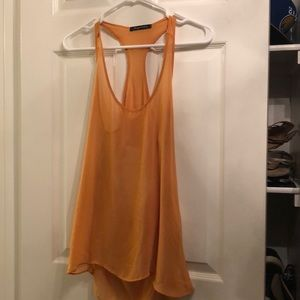 Yellow chiffon open back tank